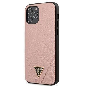 Etui Guess GUHCP12LVSATMLPI Apple iPhone 12 Pro Max różowy/pink hardcase Saffiano