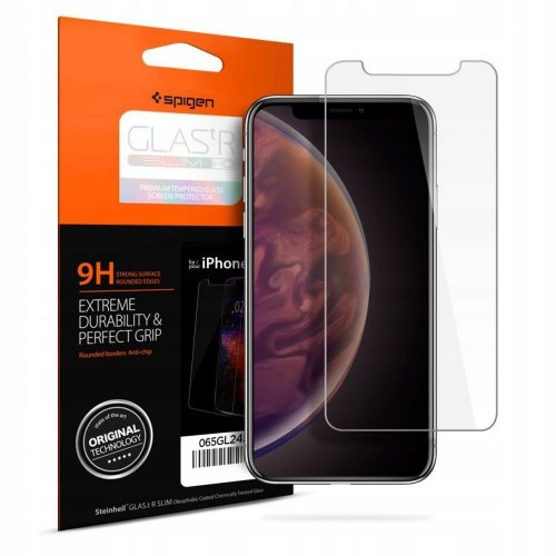 Szkło hartowane Spigen GLAS.tR Slim Case Friendly iPhone 11/iPhone XR Clear