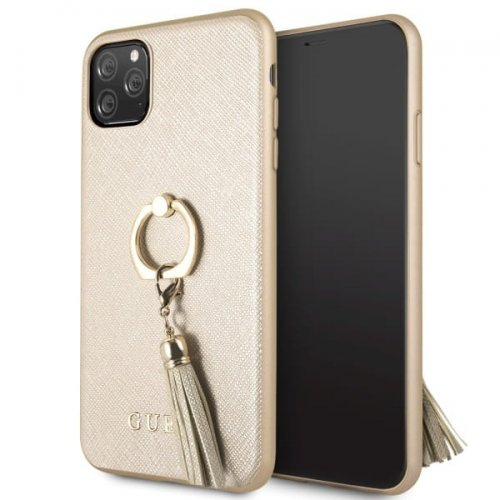 Etui Guess GUHCN65RSSABE Apple iPhone 11 Pro Max beige/beżowy hard case Saffiano with ring stand